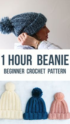 Easy Crochet Hat Free Pattern – Make This Beanie in 1 Hour! Easy Crochet Hat Free Pattern – Make This Beanie in 1 Hour!,HELA'S Häkelmode Related posts:Free Knitting Pattern for Koala Toy 8 inches/. Slouchy Beanie Pattern, Crochet Beanie Pattern, Headband Crochet, Knit Crochet, Tunisian Crochet, Crochet Dolls, Beginner Crochet Hat, Easy Crochet Baby Hat, Chunky Crochet Scarf