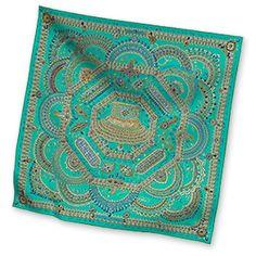 Hermes Women's Medium Silk Twill Scarves in Green   Hermes.com #NMFallTrends