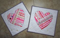 Set of 2 Selvage Valentine Mini Quilts from by carolinasquirrell, $35.00