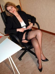 office Mature women stockings