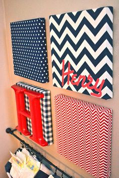 So cute and a unique twist to putting a name on the wall! Wall Art Canvas with letters: chevron, dot, plaid fabric DIY craft baby room nursery infant boy girl easy Fabric Covered Canvas, Fabric Canvas Art, Canvas Collage, Home Projects, Craft Projects, Cuadros Diy, Do It Yourself Inspiration, Diy Casa, Deco Addict