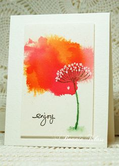 handmade card from Stamping with Klass ... mod red and orange watercolor wash ... stamped flower from Summer Silhouettes ... Stampin' Up!
