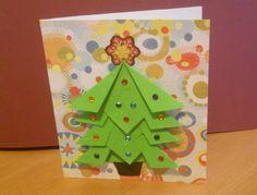Easy Origami Christmas Card Ideas: Create an Origami Christmas Tree Card Design Origami Christmas Tree Card, Creative Christmas Cards, Christmas Photo Cards, Xmas Cards, Handmade Christmas, Christmas Crafts, Christmas Ideas, Greeting Cards, Gift Cards
