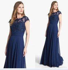 Navy Blue Long/Floor Length Lace Applique Cap Sleeves Beading Chiffon Bridesmaid Dresses For Wedding/Long Formal Gowns Bridesmaids And Mother Of The Bride, Navy Blue Bridesmaid Dresses, Wedding Bridesmaid Dresses, Moda Formal, Long Formal Gowns, Formal Cocktail Dress, Bridal Party Dresses, Gowns Of Elegance, Chiffon