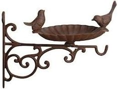 Fallen Fruits Cast Iron Wall Mounted Clam Shell Wild Bird Bath Garden Feeder in Garden & Patio, Garden Ornaments, Bird Baths, Feeders & Tables Hanging Basket Brackets, Wall Brackets, Hanging Baskets, Hanging Plants, Cast Iron Brackets, Fallen Fruits, Bird Bath Garden, Esschert Design, Buy Birds