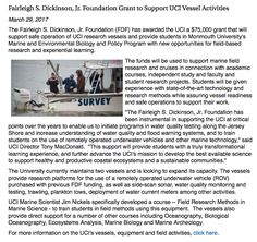 Fairleigh S. Dickinson, Jr. Foundation Grant to Support UCI Vessel Activities