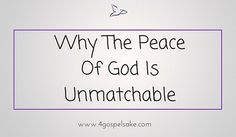 Prayer works and the peace of God is unmatchable. Why? Because it passes all understanding. Read more at http://www.4gospelsake.com/why-the-peace-of-god-is-unmatchable/