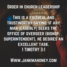 ORDER IN THE CHURCH LEADERSHIP