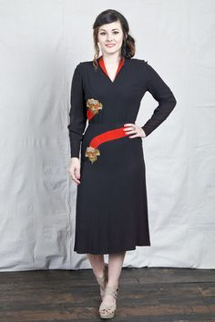 40s Black Long Sleeve Dress – The Vintage Buffalo