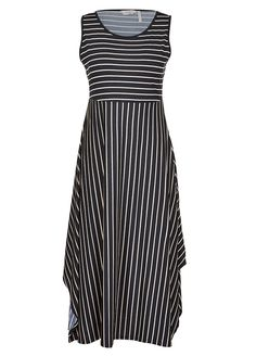 Features: - Cool sleeveless design - Fashionable hanky-style hemline - Classic rounded neckline - Timeless monotone colour palette - Contrasting stripe print on bodice and skirt - Front length: Approx. 123cm for size 10 - Add 1cm for each additional size  We accept PayPal      a{font-weight: bold; font-variant: normal; line-height: normal;}