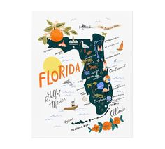 Celebrate the love of Florida with this gorgeous Florida Art Print by Rifle Paper Co. Florida is the home of Oxford Exchange in Tampa, and Rifle Paper Co. in Winter Park. Size: x Material: Bright White Cover Paper.