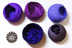 'Parasite' brooches, by Farah BAndookwala. 3D printed in nylon (dyed) and in steel