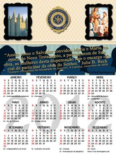 As Tontas Vão Ao Céu: Calendário 2012 - Sociedade de Socorro