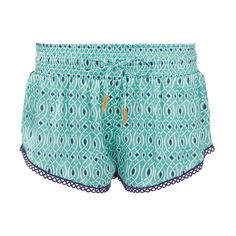 Paloma Blue Lynx Aqua Shorts ($178) ❤ liked on Polyvore featuring shorts, print, print shorts, silk shorts, aqua shorts and patterned shorts