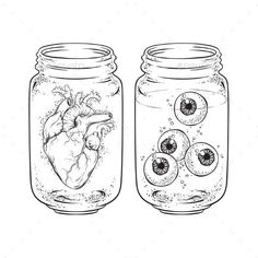 Heart and Eyes in Jars