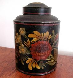 "American painted tin tea canister, early 1800s, nicely decorated in large size, 7 1/2"" tall x 5 1/2"". Excellent condition."