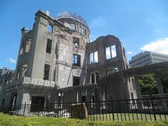 Hiroshima - part of peace park standing as a reminder of the horrors of the bomb