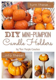 Easy DIY Pumpkin Candle Holders - two purple couches Cute Candles, Fall Candles, Diy Candles, Pumpkin Candles, Diy Pumpkin, Purple Couch, Thanksgiving Tablescapes, Holiday Tables, Christmas Crafts For Gifts