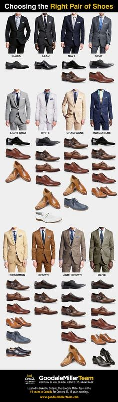 Here's our latest infographic for all of you professional men out there, who love their suits and shoes, but have no idea about coloured combinations. Well, you're not alone! Here we cover what coloured shoes should go with each suit colour. You might want to keep this pinned up in the walk in closet! #infographic