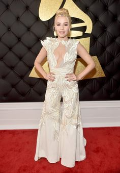 Sophie Beem in a pantsuit kind of thing at the 2017 GRAMMY Awards