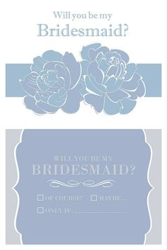 FREE 'Will You Be My Bridesmaid?' Cards