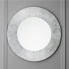 """Silver Leaf Groove Round Circle Mirror Get in the groove with this shining silver etched frame mirror. (31.5""""roundx1""""D) Mirror glass size: 19.69"""" round  Product SKU: MW13050 SL Price:  $299.00"""