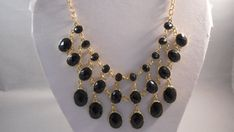 3 Row Bib Necklace with Black and Gold Beads on a by maryannsway on etsy