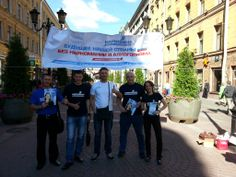 Narconon St. Pete, Russia staff handing out drug eduction booklets