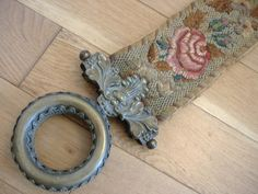 Victorian Woolwork Embroidered Bell Pull with Brass Handle