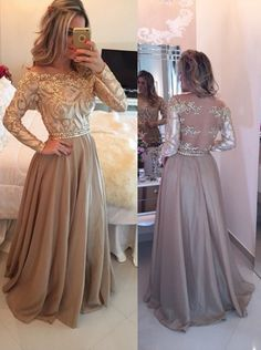 Hot Selling A-Line Cowl Floor Length Gold Prom/Evening Dress with Long Sleeves