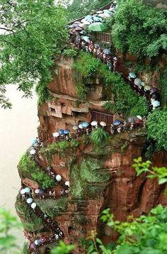 The way to the Leshan Giant Buddha. Leshan, China