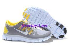 SOxJg2 Mens Nike Free 5.0 Light Grey Yellow Shoes