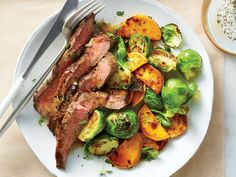 25 Clean Eating Recipes for Weeknights – Broiled Flat Iron Steak with Brussels Sprouts and Sweet Potatoes