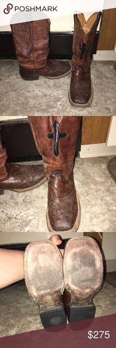 Larry Mahan Cowboy Boots Super good condition Larry Mahan ostrich cowboy boots. Originally bought for $350. Willing to negotiate price, no low ballers. Larry Mahan Shoes Combat & Moto Boots