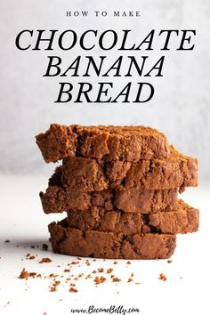 My Chocolate Banana Bread recipe is moist, tender, and full of chocolate flavor. Almost as rich as chocolate cake, but still light enough to have for breakfast. Best Bread Recipe, Quick Bread Recipes, Waffle Recipes, Banana Bread Recipes, Baking Recipes, Dip Recipes, Muffin Recipes, Chocolate Banana Bread, Chocolate Flavors