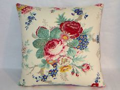 This 17 x 17  pillow is created from a sweet vintage looking floral print on soft brushed cotton twill by Ralph Lauren fabrics. Garden Club Floral
