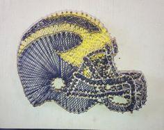 U of M Football Helmet String Art. #Homemade #StringArt #NailArt #UofM #Michigan #MadeInMichigan #MichiganFootball #Football