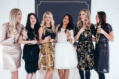 Love the gold skirt and the gold and black Holiday Party Dresses.  breakfastatnatalies.com or Natalie Wynn Designs