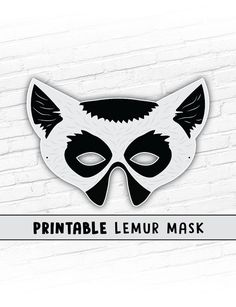 Lemur Mask Printable Party Mask Halloween Mask Printable Halloween Party Games, Halloween Masks, Halloween Kids, Printable Animal Masks, Animal Themed Birthday Party, Animal Makeup, World Thinking Day, Last Minute Costumes, Paper Mask