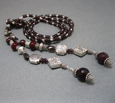Claudia's Lariat in Garnet and Silver by stoneandsterling on Etsy, $165.00
