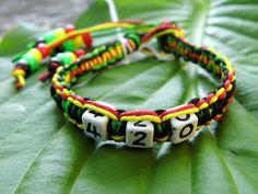 420 Rasta Hemp Bracelet w/ Dangling End by PeaceLoveNKnottyHemp, $8.00