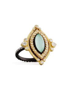 Armenta Turquoise & Quartz Doublet Pear Ring, Size 7