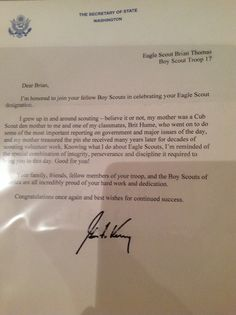 Eagle Court Of Honor Letter Of Congratulations Secretary Of