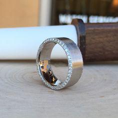 Custom Made Men's 14 Karat White Diamond Wedding Ring with a satin finish #JewelerByDesign
