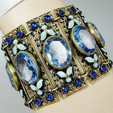 Massive Art Nouveau Deco Czech Blue Topaz Bracelet Gilt Brass Filigree Turquoise Enamel Leaves Sapphire Rhinestones