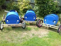 Plastic barrel soap box derby cart