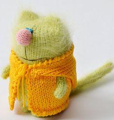 Pussycat in Yellow Jacket - Miniature Kitten Amigurumi - Pet Animals Hand-Knitted Toys - Cat green - Fluffy cute creatures - Art Dolls