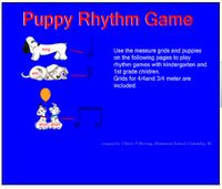 SMARTBoard / Kindergarten and 1st grades explore rhythmic patterns using long and short puppies.