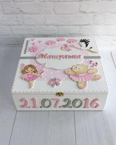 Hand Painted Box Child's Memory Box Gift for Baby Girl White Keepsake Box Personalized Box Baby Keepsake Box Newborn Gift Large Memory Box Baby Keepsake, Keepsake Boxes, Painted Boxes, Hand Painted, Baby Frame, Decoupage Box, Baby Box, Baby Memories, Personalised Box