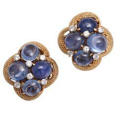 1stdibs | David Webb Sapphire, Diamond And Gold Clip Earrings